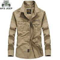 AFS Jeep Brand Primavera Autunno Militare Degli Uomini Della Camicia 100% Cotone A Maniche Lunghe Army Camicette Camisetas hombre Plus Size 4XL Chemise homme