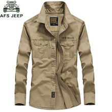 AFS Jeep Brand Spring Autum Military Shirt Men 100% Cotton Long Sleeve Army