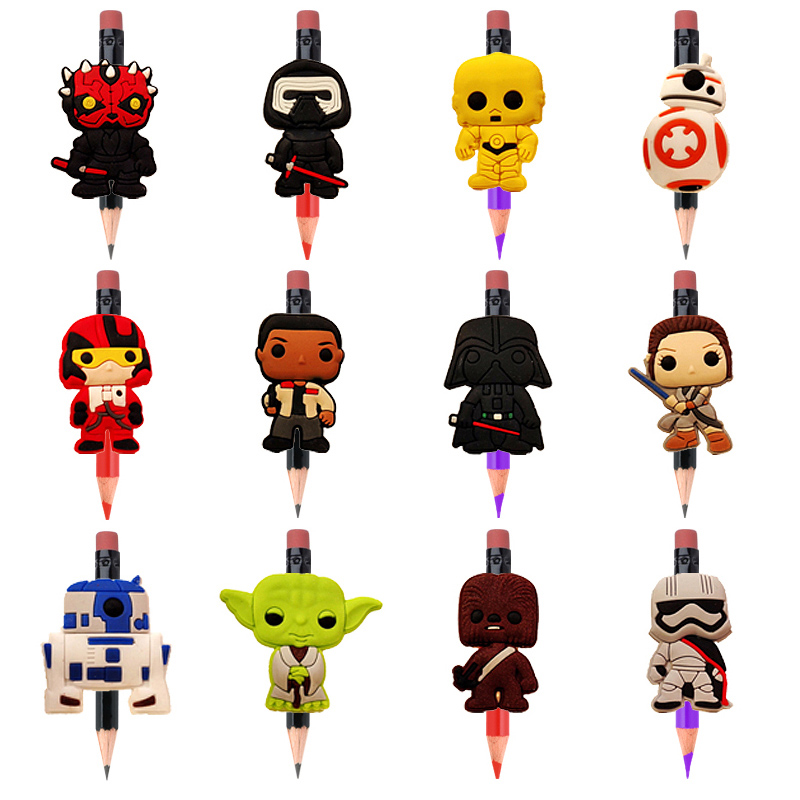 12pcs Cartoon Star Wars Figures Cute Pencil Toppers DIY Pen Grips School Supplies Pen Accessory Caps Stationery Kids Party Gift