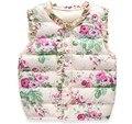 Coletes à prova de meninas das crianças para baixo do colete de algodão quente do bebê meninas floral doce colete crianças de alta qualidade outerwear colete 2-7 anos