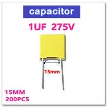 JASNPROSMA 1UF 200PCS Safety Capacitor X2 275VAC Pitch 15mm 1000NF 105 10% K 275V 105K