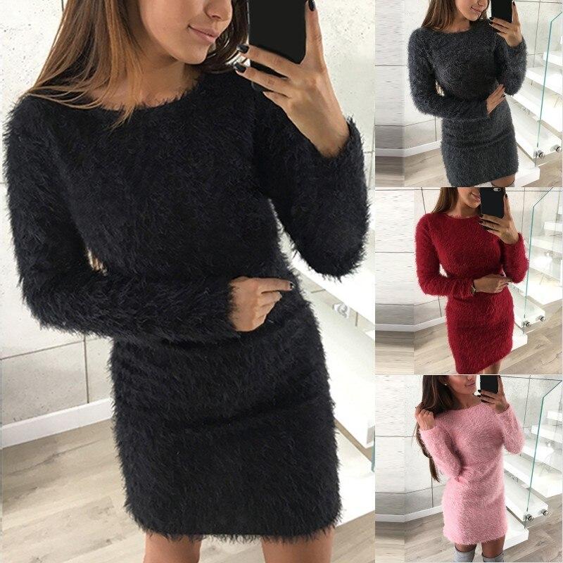 S-5XL Women Sweater Dress Faux Fur Long Sleeve Stretch Sexy Bodycon Dresses Autumn Winter Pullover Oversized Vestidos de Festa