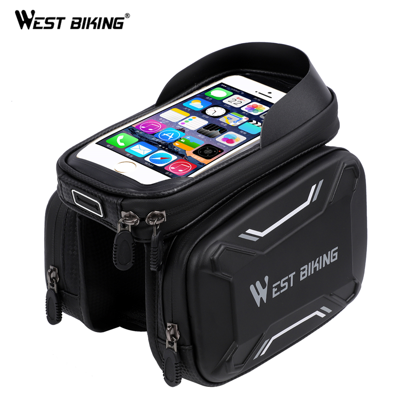 WEST BIKING MTB Bike Bag Waterproof Touch Screen Bicycle Top Front Tube Frame Bags 6.2 Phone Case Cycling Bike Top Tube BagWEST BIKING MTB Bike Bag Waterproof Touch Screen Bicycle Top Front Tube Frame Bags 6.2 Phone Case Cycling Bike Top Tube Bag