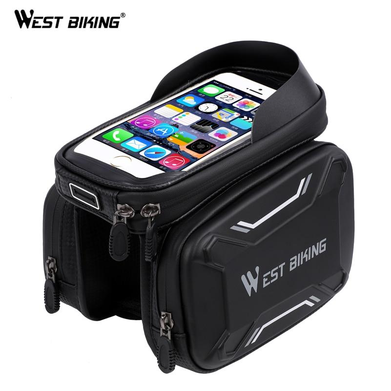 WEST BIKING MTB Bike Bag Waterproof Touch Screen Bicycle Top Front Tube Frame Bags 6.2 Phone Case Cycling Bike Top Tube Bag