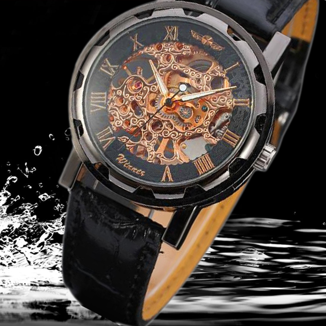 Fashion and Business Stainless Steel PU leather skeleton Mechanical Men Watch Hand-winding Mechanical relogio masculino vik max adult kids dark blue leather figure skate shoes with aluminium alloy frame and stainless steel ice blade