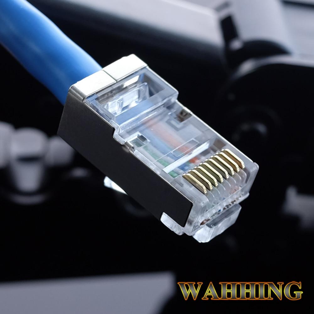 Купить с кэшбэком 50/100pcs RJ45 Connector Cat5e Cat6 Network Connector Shielded Modular 8Pin Rj45 PlugUTP  Terminals Have Hole HY1549