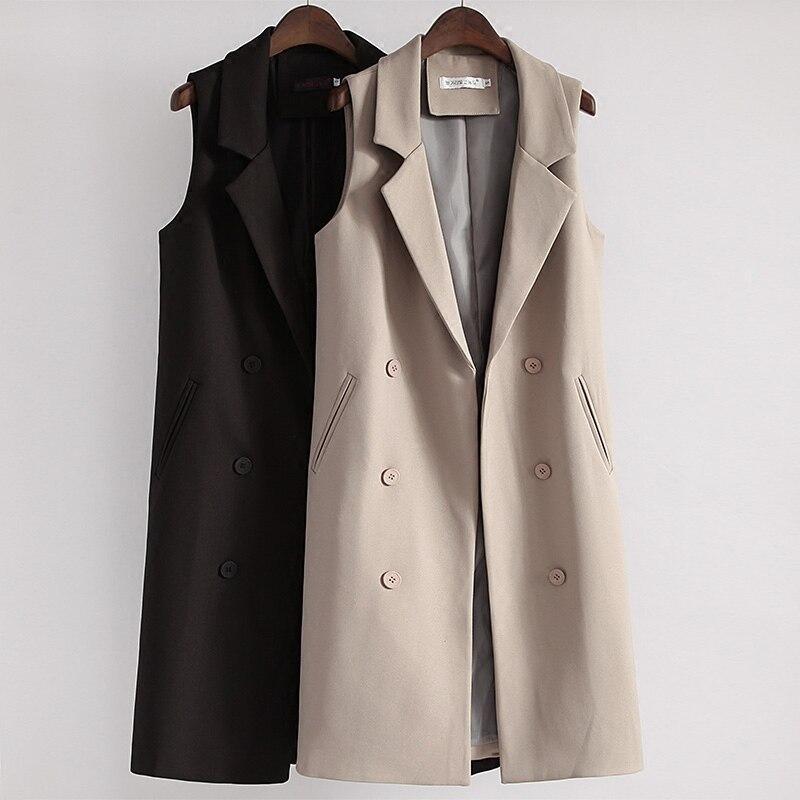 Fashion Long Black Vests Spring Autumn Women Sleeveless Blazer Vest Coat Female Double Breasted Waistcoat Jacket Outwear AB1282