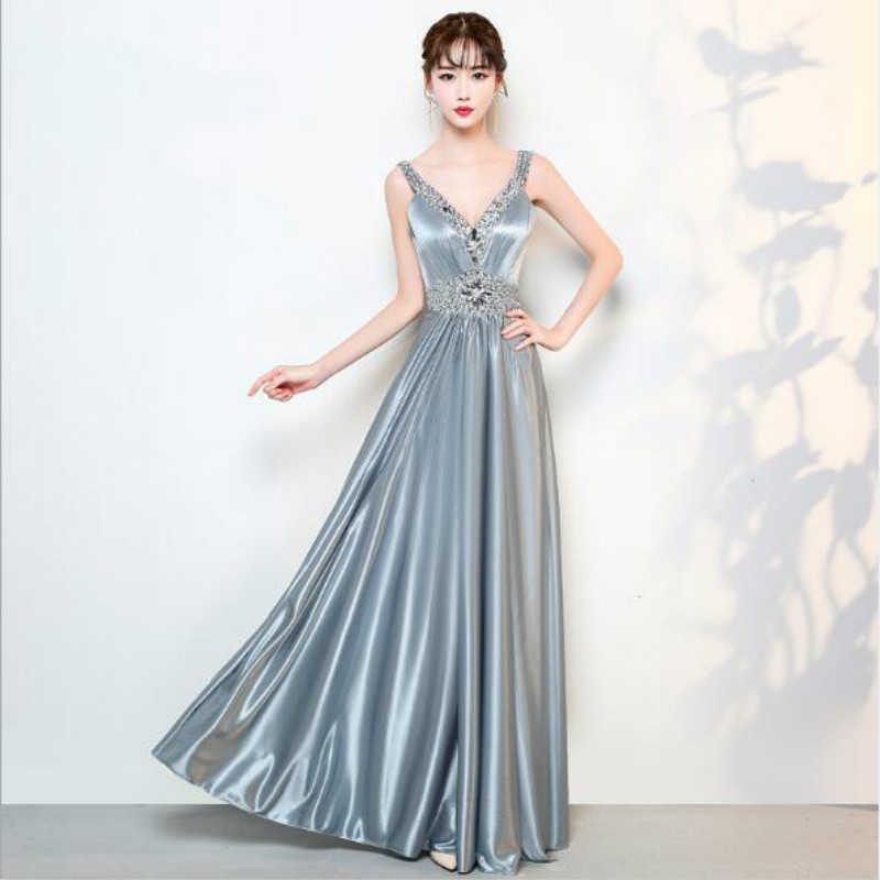 U-SWEAR 2019 Arrival Summer   Bridesmaid     Dress   Sexy Rhinestone   Dress   V-neck Beading Crystal Backless A-Line   Dress   Elegant Vestidos