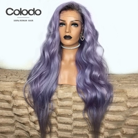 COLODO Remy Brazilian Lace Front Human Hair Wigs Glueless Purple Wavy Wig With Baby Hair Preplucked Colored Pink Human Hair Wig