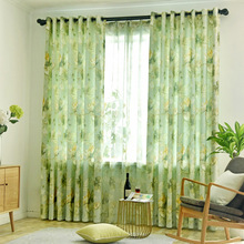 Semi Shading Green Curtains For Living Room Bedroom Window Curtains Salon Voile Flowers Printed Balcony rideau de tulle 338&30