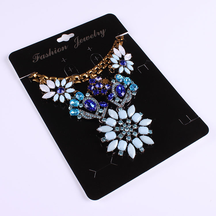 100pcs Kraft Fashion Jewelry Big Card Necklace& Earring 14x19cm Black Paper Hang Tag Jewelry Displays Cards
