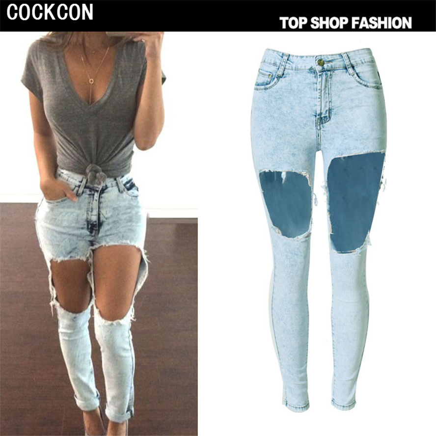 COCKCON Autumn New Fashion Cotton Jeans Women High Waist Washed Vintage Big Hole Ripped Long Denim Pencil Pants TOP-001 spring new fashion cotton jeans women loose high waist washed vintage big hole ripped ankle length denim straight pants mz1535