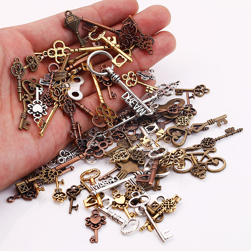 Vintage Metal Mixed Small Key Charms For Jewelry Making