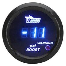 52mm pol LCD Digital Auto Car-14 ~ 29 PSI Turbo Medidor de Calibre do Impulso com Sensor de Luz de Advertência-preto