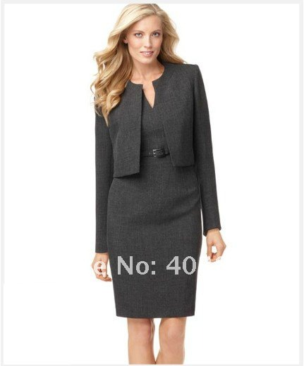 036768b391c Dark Gray Women Clothes Women Dresses Tailor Custom Women Suit Long Sleeve  Collarless Jacket   Belted Sheath Dress 709-in Dress Suits from Women s  Clothing ...