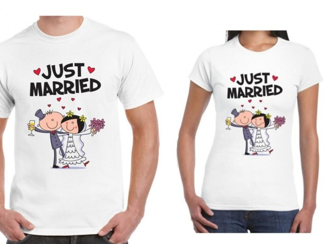 Cute matching couples t shirt set just married funny for Couple printed t shirts india