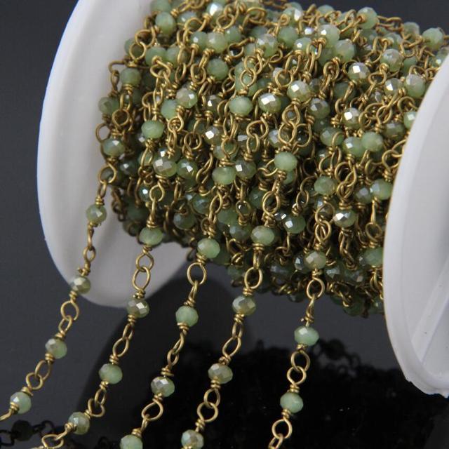 5 meter titanium grünen glasperlen messing draht gewickelt kette ...