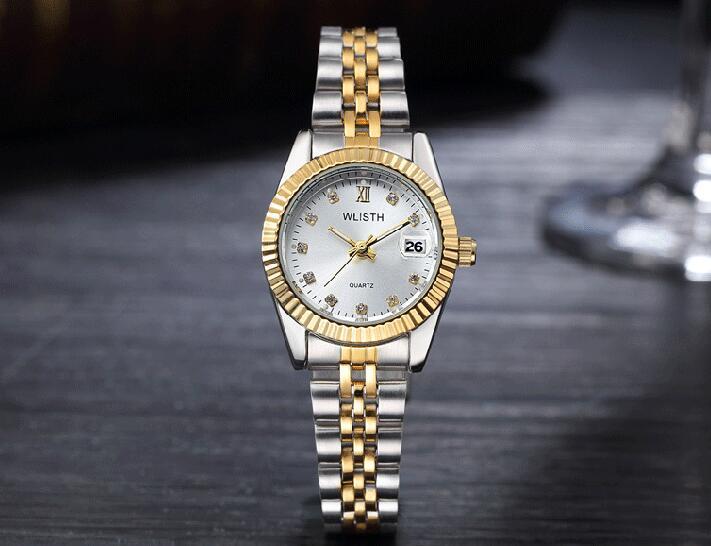 WLISTH роскошные золотые часы для женщин и мужчин, для влюбленных, нержавеющая сталь, Кварцевые водонепроницаемые мужские наручные часы для мужчин, аналог Авто Дата clcok - Цвет: Gold White For Lady