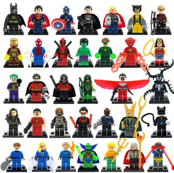 цены  5Pcs/lot Marvel Super Heroes Figures The Avengers Building Blocks Sets mini Bricks s Model Bricks Figures Toys for Children