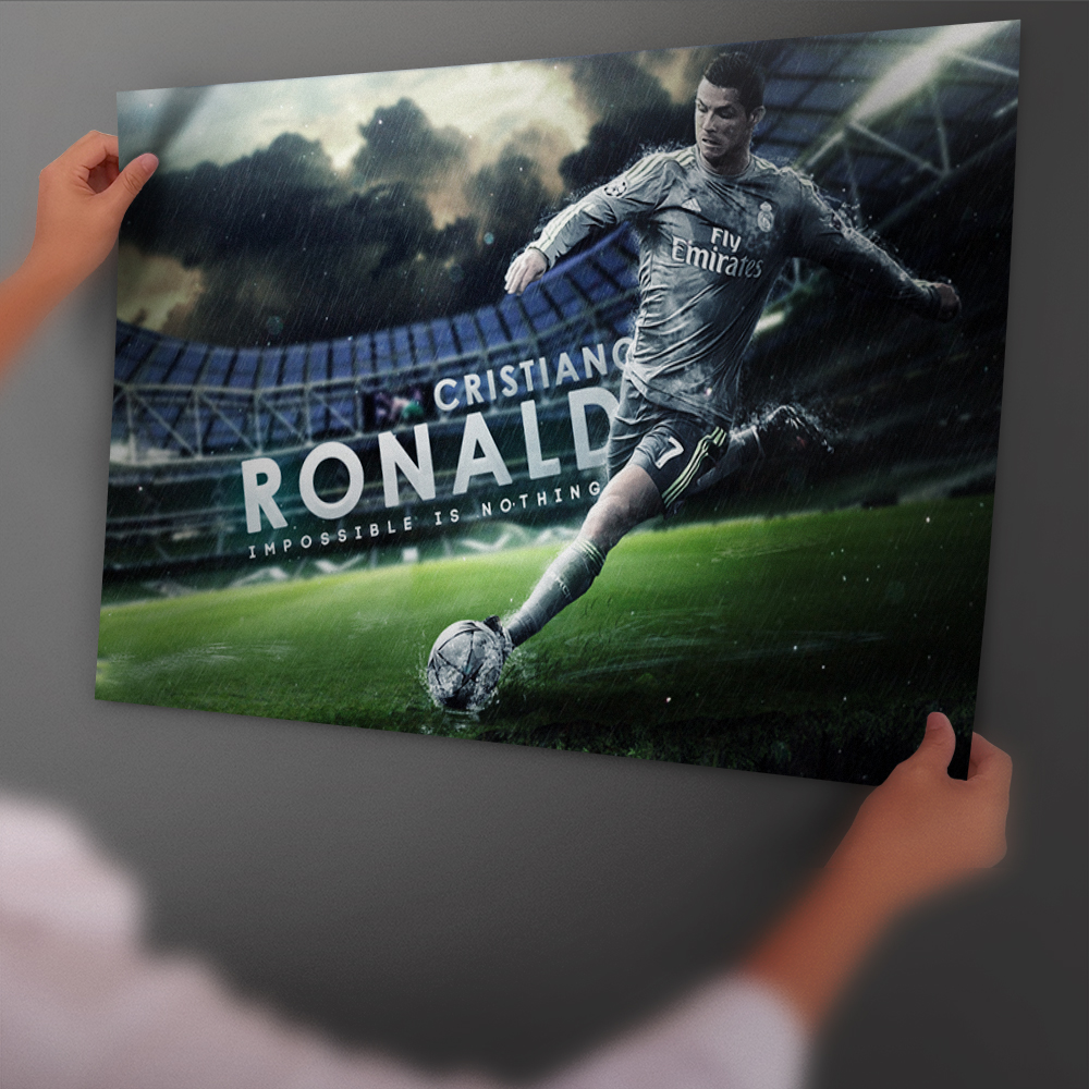 Cristiano Ronaldo Free Kick Shoot Football Art Poster And Print Back Glue Paper Painting With Film Wall Sticker Home Decor
