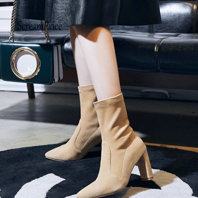 Flock Leather Elastic boots Chunky High Heel Mid Calf Boots Fashion Pointed Toe Winter Fashion Woman Shoes Black Nude Champagne