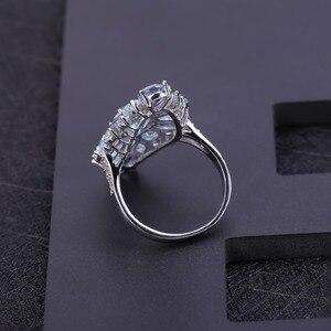 Image 4 - Mücevher bale çok renkli doğal Sky Blue Topaz mistik kuvars kokteyl yüzük kadınlar için 925 ayar gümüş taş yüzük takı