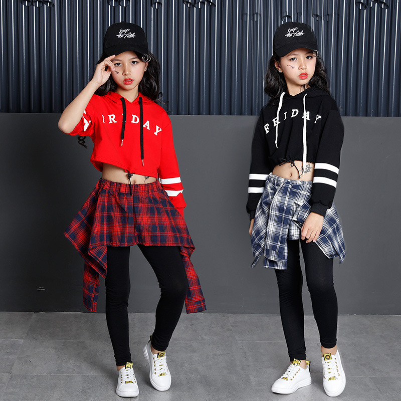 51c1cba5f332 Letter Print Kids Girls Hip hop Clothes Set 2018 Spring Hoodies Plaid Skirt  Pants Dancing Costume 4 6 8 10 12 14 16Years-in Clothing Sets from Mother &  Kids ...