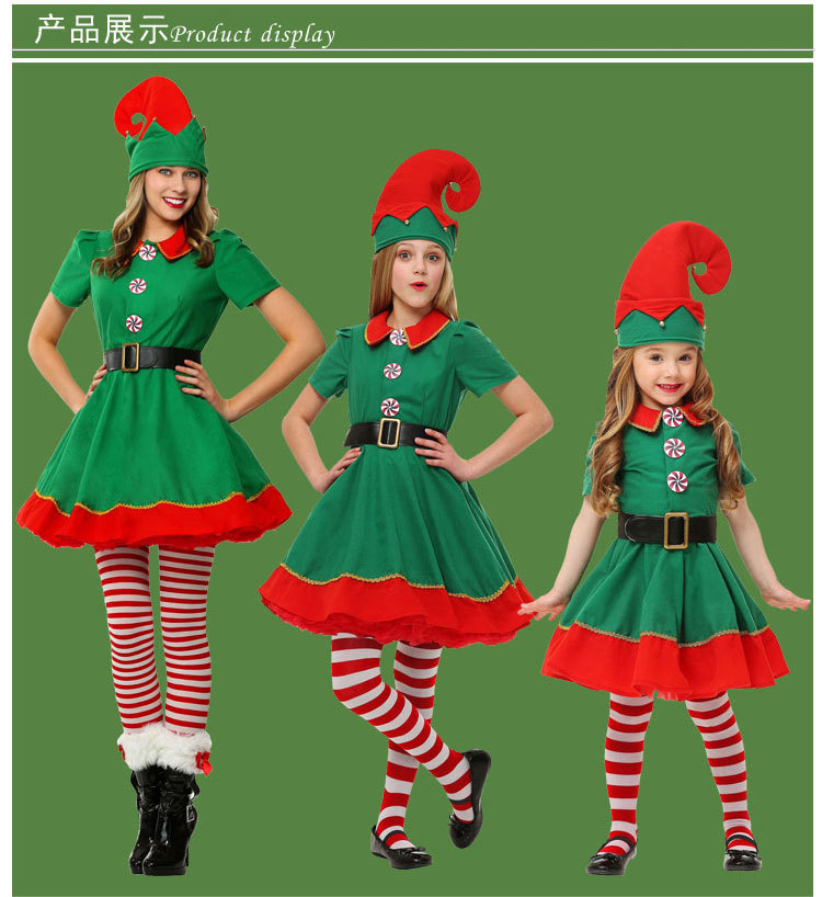 Toddler Holiday Elf Costume Cute Halloween Costume Short Sleeves Christmas Costumes Small Elf Girls Dress Clothing
