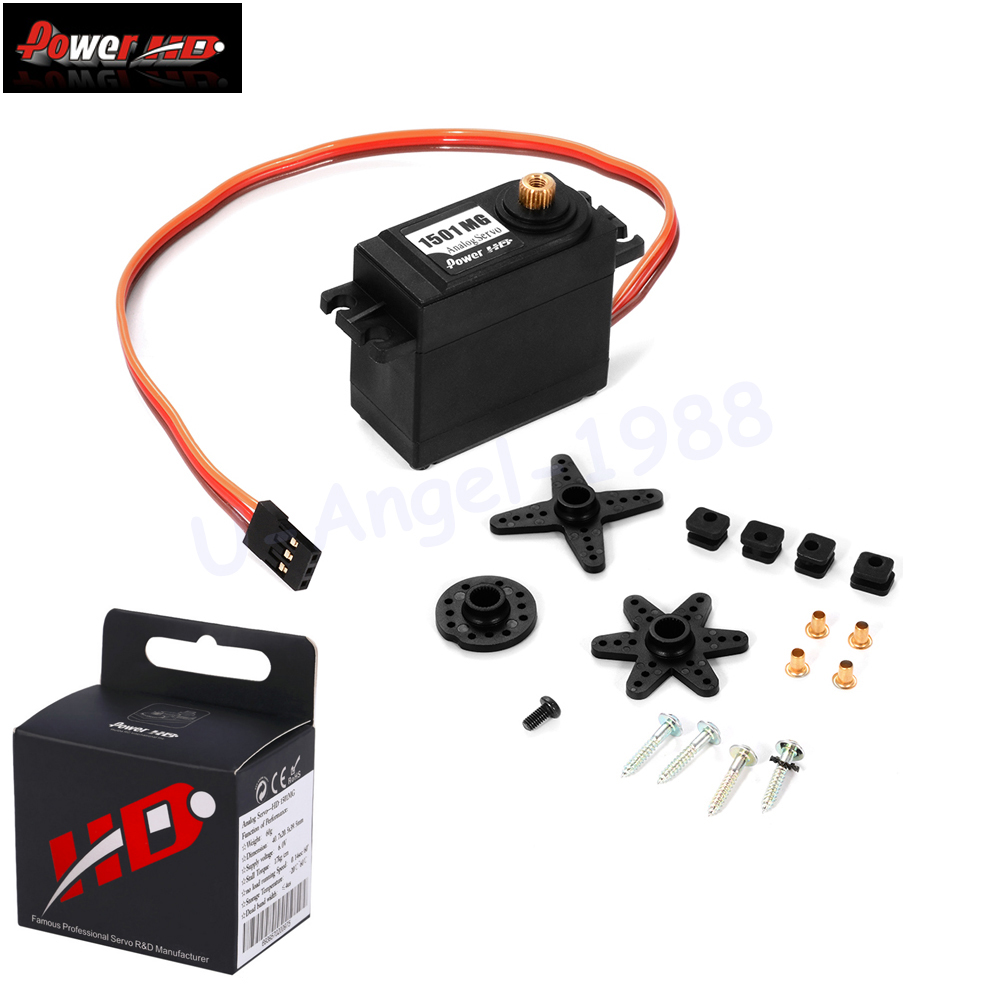 Image 3 - 4pcs/lot 100% orginal Power HD High Torque 60G Standard Servo 1501MG ALL Metal Gear 17KG 0.14 sec 1501+ +Free shipping-in Parts & Accessories from Toys & Hobbies