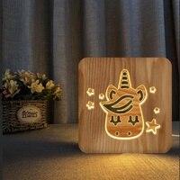 Customized Light Unicorn Wooden LED Lighting Carving 3D Lights Home Decoration Lamp USB Powered Decorative Nightlight Holiday