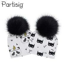 Sombrero del bebé pompón negro del casquillo del bebé del otoño invierno  algodón impresión del bebé Faux Fur niños sombreros par. 67363145551