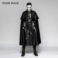 PUNK RAVE Men Punk Rock Long Cloak Men Steampunk Leathe Long Cloak Cape Coat Stage Perform Men Long Trench Coat
