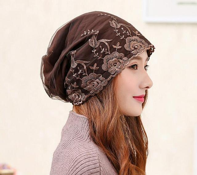 lady chemo cap skullies fashion embroidery hat chemo Wrap cancer hat Cap slip on bonnet 5 Colors 10pc/lot  free ship