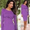 Модная Женская Одежда 2015 Осень Горошек Печати Женщины Платья С Длинным Рукавом Плюс Размер 4XL Повседневная Dress Vestidos Femininos