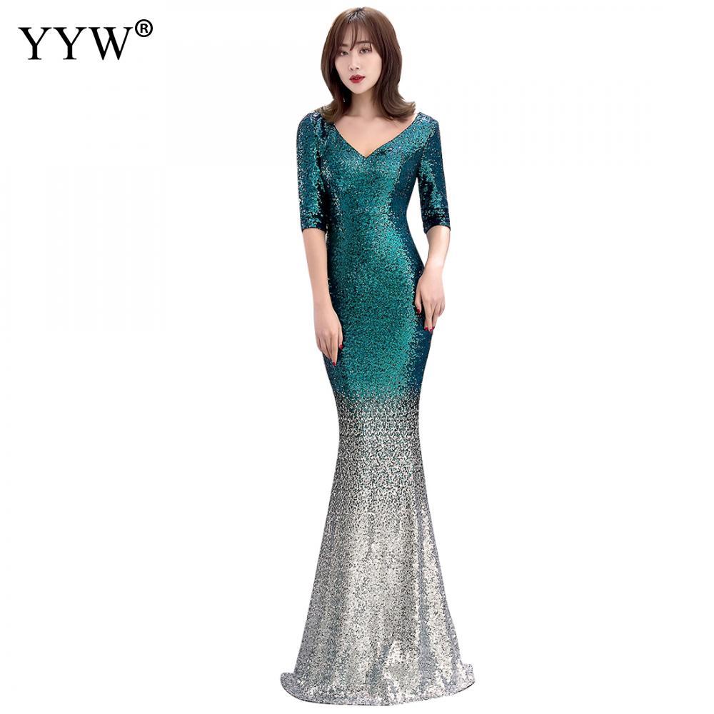 Fashion Long Evening Dresses Vintage Sequin Gradient Mermaid Dresses Women V Neck Half Sleeve Elegant Formal Club Party Vestidos