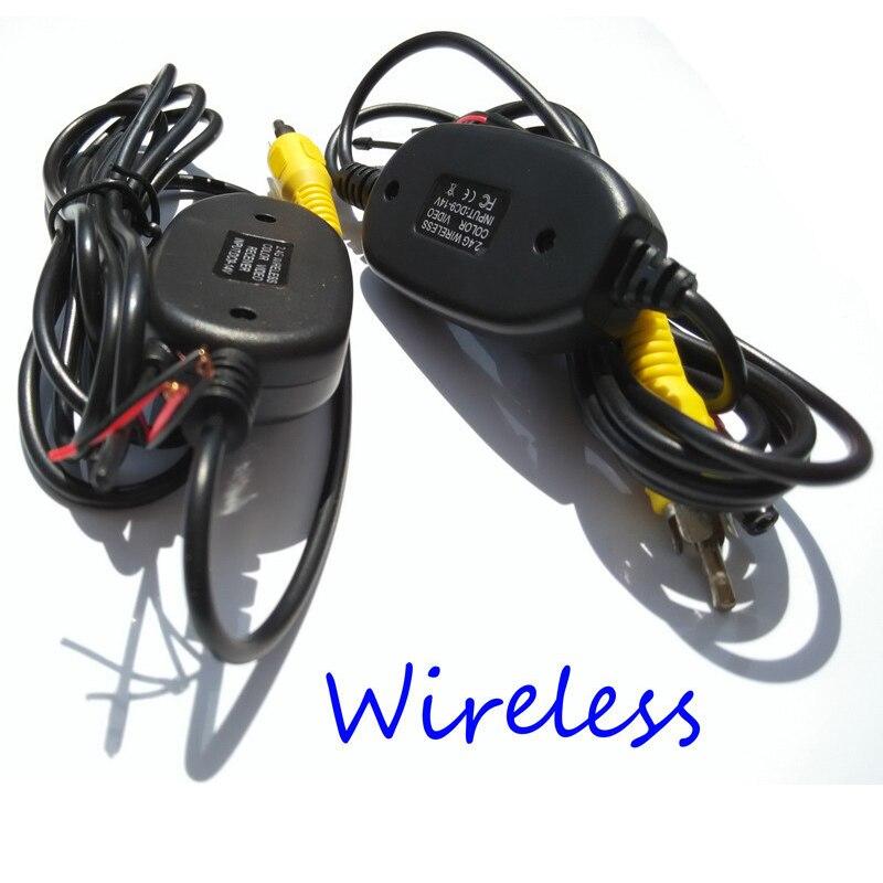 2.4 GHz inalámbrico coche kit RCA transmisor de vídeo y receptor para conectar RCA cámara de visión trasera y DVD monitores
