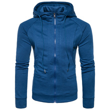 The new European men's doubles pocket zippered Hoodie sweater