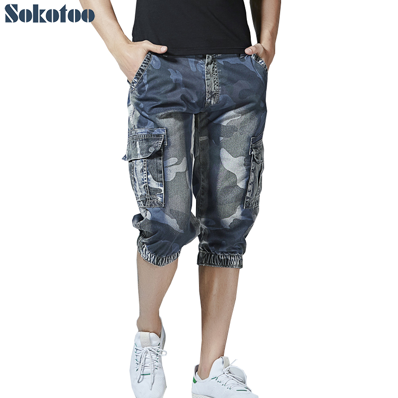 Sokotoo Men's Summer Camouflage Printed Shorts Pockets Cargo Capri Blue Denim Joggers Calf Length Denim Jeans