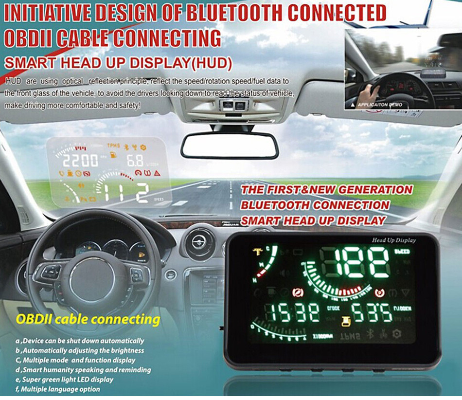 W03 Universal Car HUD Wirless Blutooth Head Up Display Windscreen Projector OBD2 II Speedometers Speeding Warning Fuel Dashboard-1