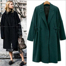 Adogirl Women Autumn Winter Wool Coat Classic Ladies Turn Down Collar Oversize Trench Loose Warm Long Woolen Outwear Overcoats