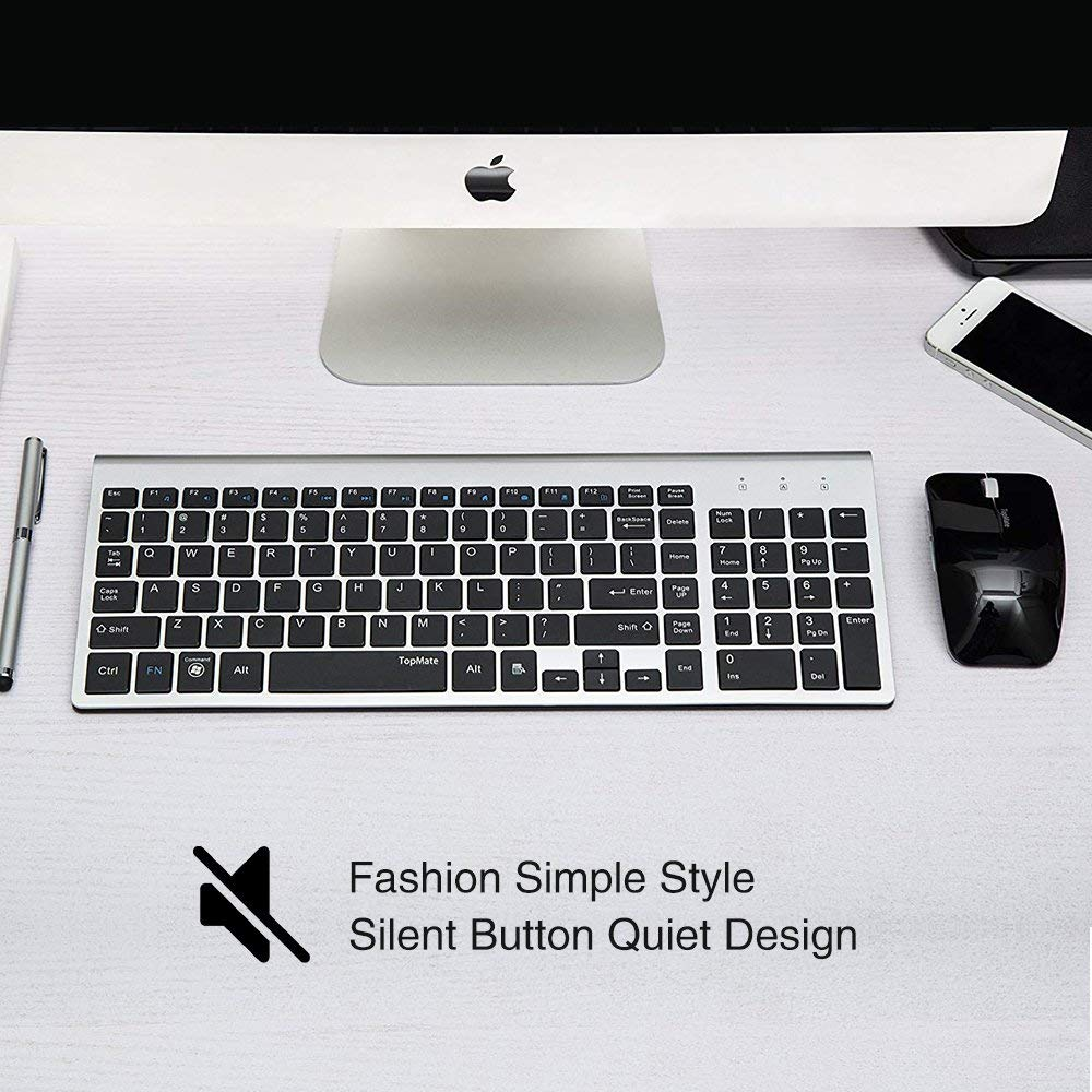 """""""TopMate KM9001 Ultra Slim Portable Mute"""" belaidė klaviatūra ir - Kompiuterių periferiniai įrenginiai - Nuotrauka 3"""