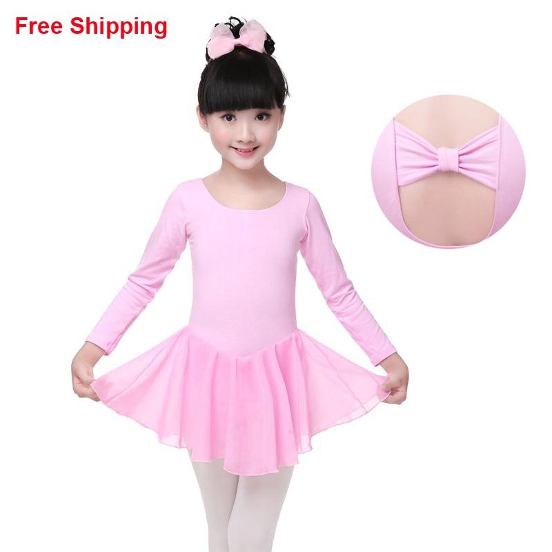 New Chiffon Cotton Children Kids Gymnastic Leotards Cotton Butterfly Tie Kid Ballet Girls Tutu Dress Flexible