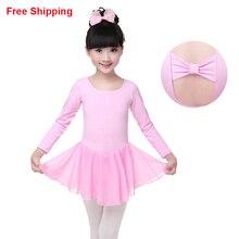 Novo chiffon de algodão das crianças das crianças de ginástica leotards de algodão gravata borboleta criança ballet meninas tutu dress flexível tutu dress