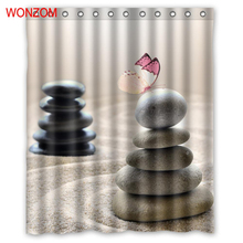 WONZOM Modern Stone Shower Curtains with 12 Hooks For Bathroom Decor Landscape Bath Waterproof Curtain 2017 Home Gift