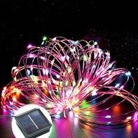 Рождество украшения гирлянды солнечный свет string 50 LED Медь 2 Режим 2 В 170ma Панели солнечные Водонепроницаемый сад Лампы на солнечных батареях