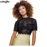 2018 Summer 3D Flower Lace Crochet Blusas Femininas Sexy Perspective Sheer Club Wear Crop Top Korean Cute Mesh Shirt Tunic