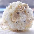 2017 Hot Gorgeous Gold Brooches Pearls Wedding Bouquet Silk Roses Bridal Bouquet Rhinestones Colorful Bride Bouquet