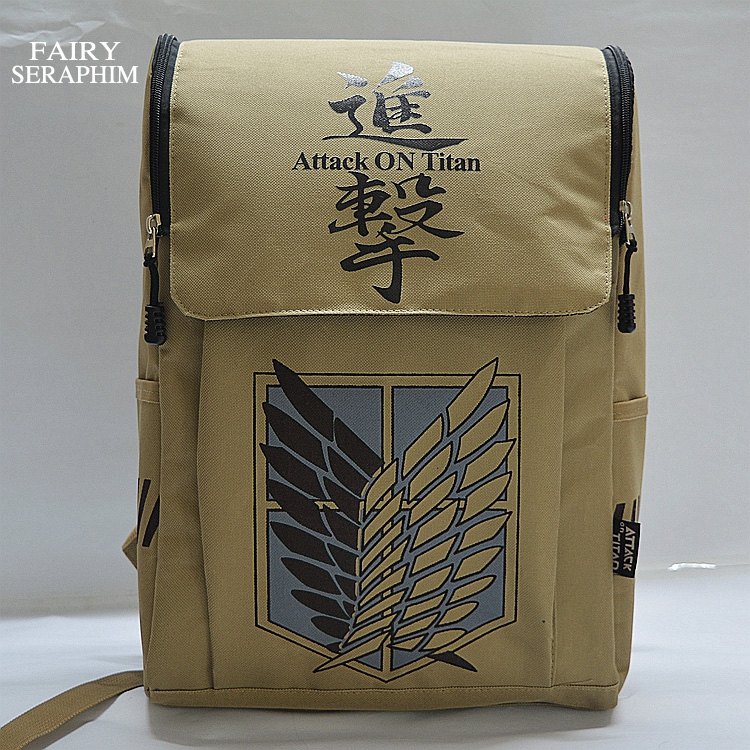 New Fashion Rushed Printing Animated Cartoon School Bag Unisex Teenagers Women Mochila Softback Attack On Titan Canvas Backpack