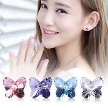 купить WARME FARBEN Crystal from Swarovski Women Stud Earrings 925 Sterling Silver Butterfly Cute Earrings For Women Lady Jewelry дешево