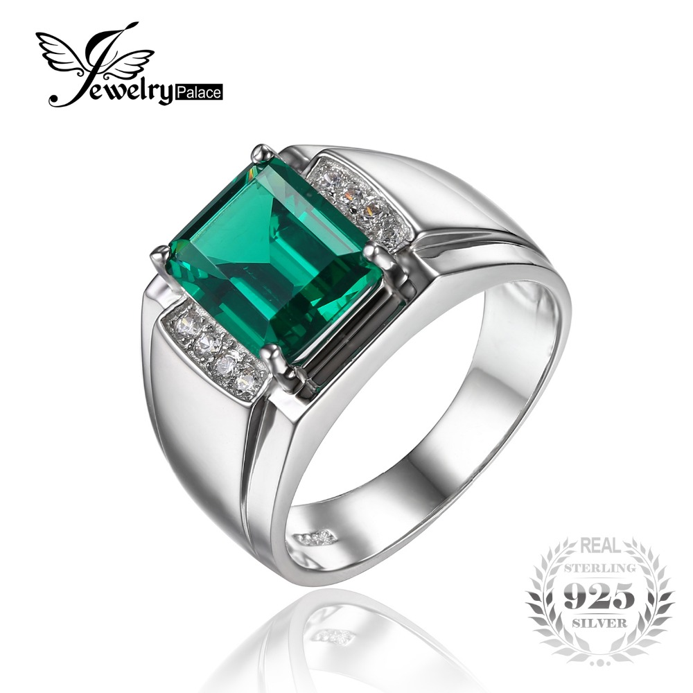 Jewelrypalace 925 Sterling Men Emerald Wedding Ring Genuine